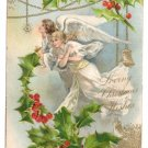 Angels Holly Embossed Gold Vintage Christmas Postcard UND 1907