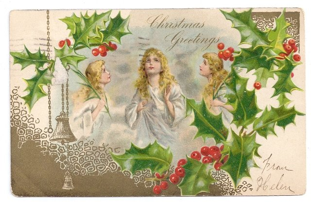 Angels Holly Embossed Gold Vintage Christmas Postcard UND 1906