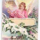 Angel Candle Embossed Vintage Christmas Postcard