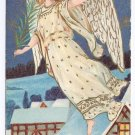 Angel Palm Branch Embossed Vintage Christmas Postcard 1910