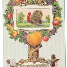 Gel Turkey in Fruit Tree Vintage Thanksgiving Postcard ca 1912