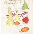 Turkey in Haystacks Vintage Thanksgiving Postcard Fairman 1915