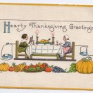 Pilgrims at table Embossed Vintage Thanksgiving Postcard Bergman 1914