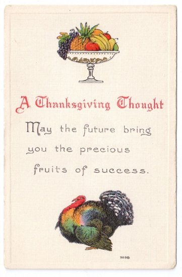 Turkey Embossed Arts and Crafts Style Vintage Thanksgiving Postcard Bergman 1912