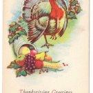 Turkey Cornucopia Vintage Thanksgiving Postcard