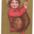 Gold Moire Background Child w Turkey Vintage Thanksgiving Postcard 1912