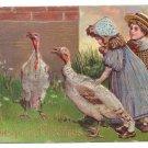 Children w Turkeys Embossed Gilded Vintage Thanksgiving Postcard