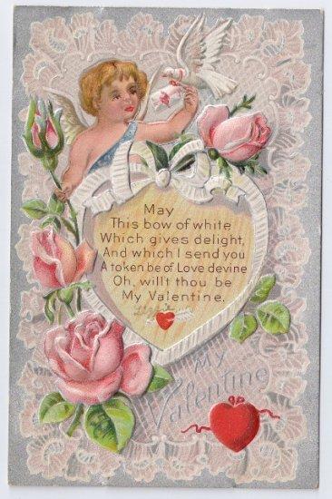 Cupid Cherub Roses Embossed Silver Vintage Valentine Day Postcard