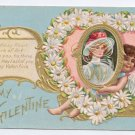 Cupid Cherub Daisy heart Embossed Gilt Vintage Valentine Day Postcard