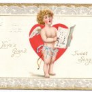 Cupid Cherub Singing Vintage Valentine Day Postcard Tuck