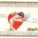 Cupid Cherub Heart on Platter Valentine Day Postcard Tuck