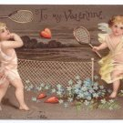 Cupid Cherub Playing Tennis With Heart Vintage Valentine Postcard