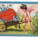 Cupid Cherub Messenger Embossed Gilt Vintage Valentine Postcard