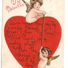 Griggs Unsigned Cupid Heart Embossed Vintage Valentine Postcard