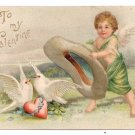 Cupid Catching Doves Embossed Vintage Valentine Postcard
