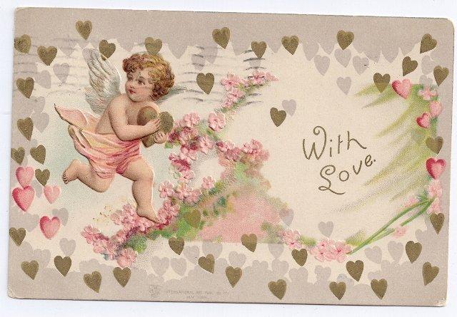 Cupid Gold Hearts Embossed UND Vintage Valentine Postcard IAP
