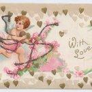 Cupid Gold Hearts Embossed Glitter UND Vintage Valentine Postcard IAP