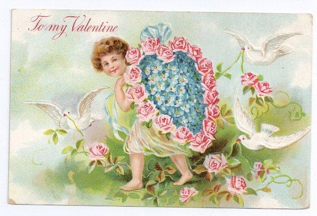 Cupid Cherub Flower Heart Embossed Vintage Valentine Postcard
