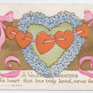 Hearts Strung on Ribbon Embossed Gold Vintage Valentine Postcard