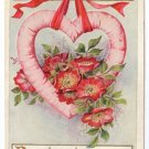 Heart and Flowers Embossed Gold Vintage Valentine Postcard