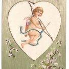 Cupid Bow Arrow Glitter Vintage Valentine Postcard