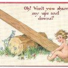 Cupid SeeSaw Tuck Vintage Valentine Postcard