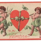 Cupids Carrying Ribbon Wrapped Heart Vintage Valentine Postcard