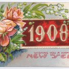 1908 Roses Embossed Vintage New Year Postcard