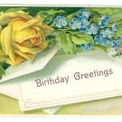 Yellow Rose Forget me Nots Embossed Vintage Birthday Postcard