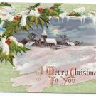 Church Country Scene Embossed Vintage Christmas Postcard