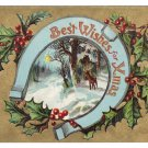 Horseshoe Deer Gold Moire Embossed Vintage Christmas Postcard