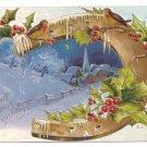 Horseshoe Church at Night Embossed Vintage Christmas Postcard