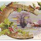 Horseshoe Farm Embossed Gilt Vintage Christmas Postcard