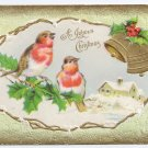 Birds Gold Bells Embossed Gold Vintage Christmas Postcard