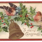 Birds Holly Bell Embossed Vintage Christmas Postcard