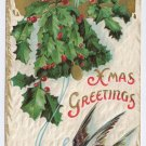 Holly Bell Swallow Bird Embossed Gilt Vintage Christmas Postcard