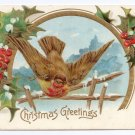 Bird Embossed Gilt Vintage Christmas Postcard
