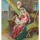 Nativity Mary Joseph Embossed Vintage Christmas Postcard