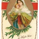 Madonna and Child Embossed Gilt Vintage Christmas Postcard