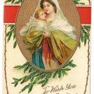 Madonna and Child Embossed Gilt Vintage Christmas Postcard
