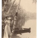The Birches on the Charles Boston MA Woman Canoe Vintage Postcard