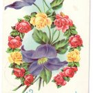 Horseshoe of Roses Vintage Easter Postcard 1910