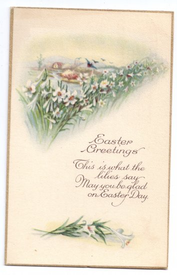 Lilies Vintage Easter Postcard Stecher 1925