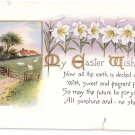 Lilies Sheep in Field Vintage Easter Postcard Gibson 1914