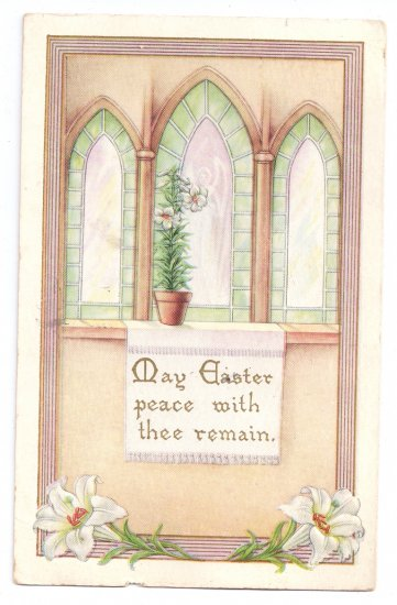 Whitney Church Windows Lilies Embossed Vintage Easter Postcard 1920