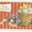 Basket of Eggs Gilt Embossed Vintage Easter Postcard 1920