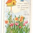 Whitney Blue Birds Garden Embossed Vintage Easter Postcard 1924