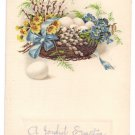 Basket of eggs and Flowers Embossed Vintage Easter Postcard