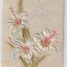Lilies Airbrushed Embossed Vintage Easter Postcard