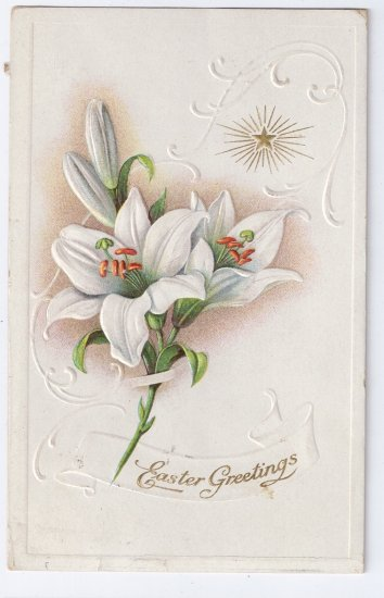 Lilies Star Embossed Vintage Easter Postcard 1916